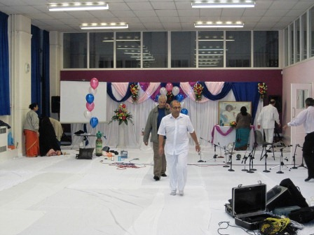 Setting up Hall for Swami's Birthday Bhajans 2