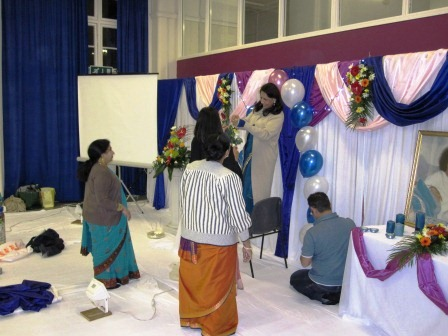 Setting up Hall for Swami's Birthday Bhajans