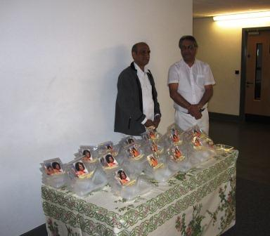 Volunteers with the puja items